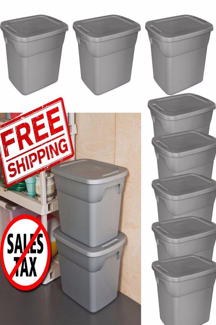 57 35 8 Plastic Storage Containers Box Sterilite 18 Gallon Stackable Bin Tote Lid Set