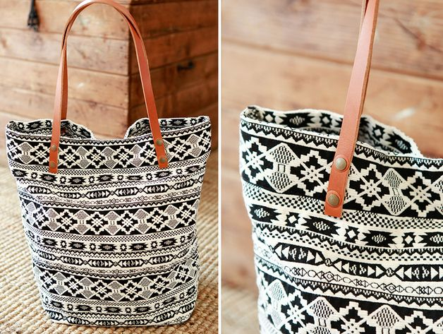 """Shoulder Bags – XXL shopper bag """"pitoo"""" black & white // brown – a unique product by pikfine on DaWanda - inspiration only =cost to buy - 69 Euro"""