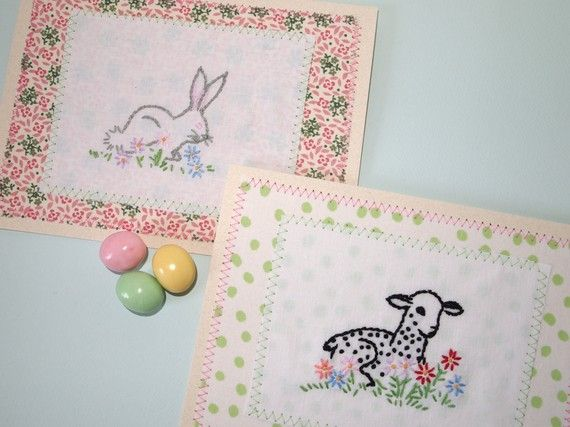 vintage embroidery scraps: Baby Cards, Easter Cards, Embroidery Scraps, Card Ideas, Note Cards, Vintage Embroidery, Lamb Embroidery