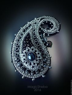 Купить Броши Индийские сказки, броши пейсли - серебряный, золотой, серебряная брошь, золотая брошь