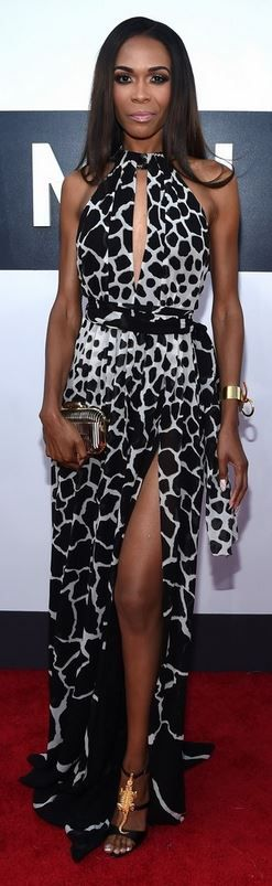 Who made  Michelle William's white animal print halter gown and black sandals that she wore in Inglewood on August 24, 2014