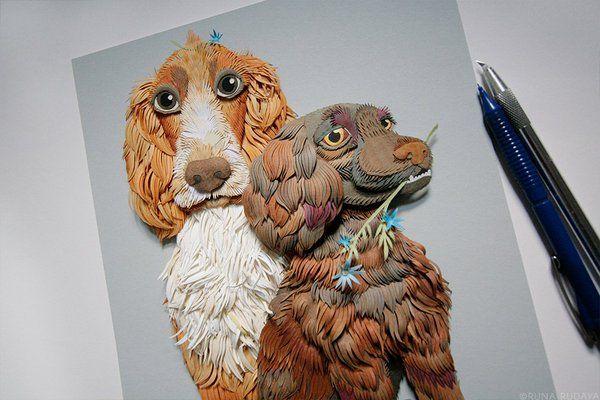 Paper cutout of lovely spaniels, Smoky Bacon and Scampi Fries by Runa Rudaya runarudaya.com