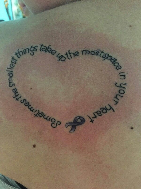 My tattoo for my nicu preemie, the ribbon is for premature birth awareness. Except with different wording. The design is what I like. I think this will be my next !!