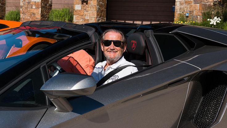 Test driver Valentino Balboni in an Aventador Roadster