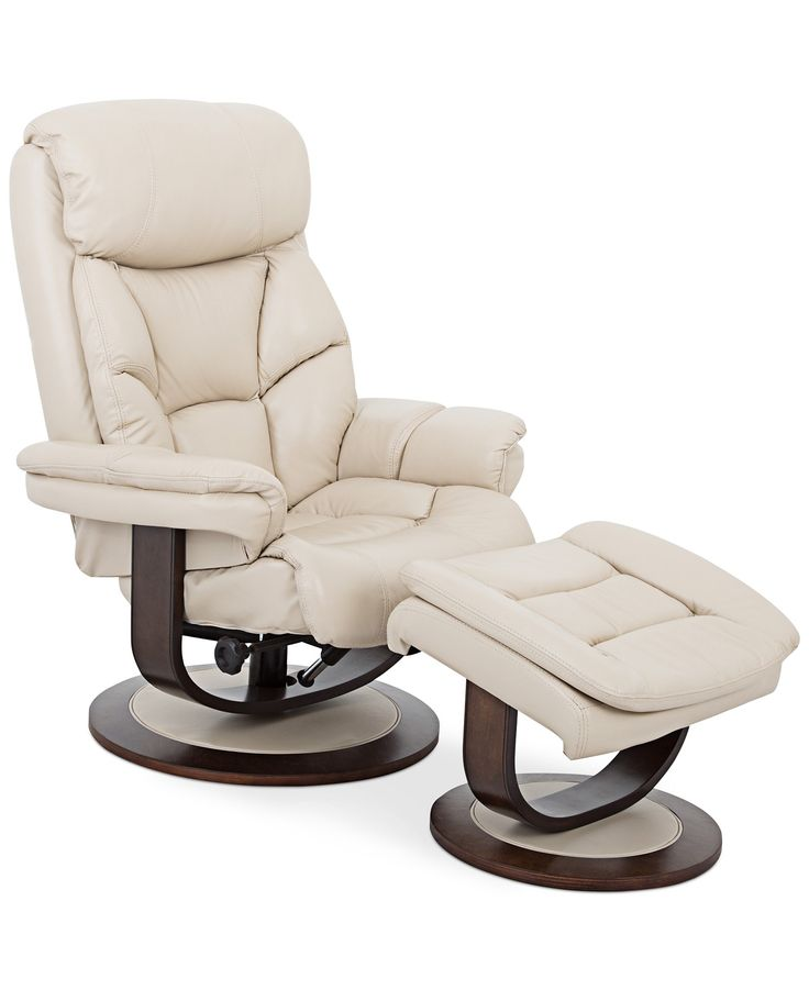 Aby Leather Recliner Chair Amp Ottoman Furniture Macy S