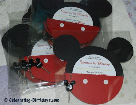 DIY Mickey Mouse Pocket Invitations for a Mickey Mouse Clubhouse or Mickey and Friends themed party. Invitations have a pocket to hold contents