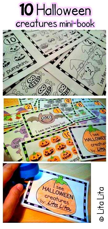 10 Halloween creatures mini-book