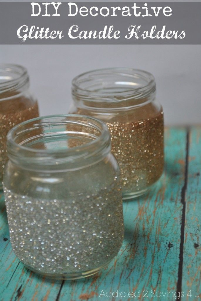 DIY Decorative Glitter Baby Food Jars - could be for votives, bud vases, treasure/vacation jars for little girls, make-up brush holders, tiny crafting items, etc.