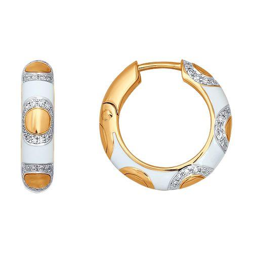 Серьги-кольца с эмалью и бриллиантами