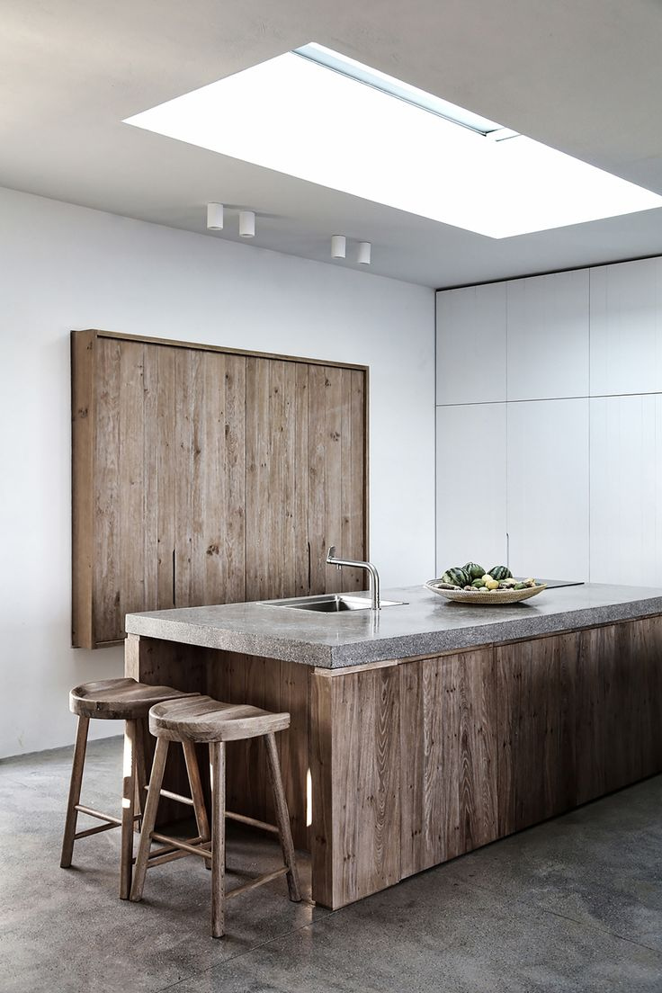 the unfinished wood and concrete kitchen #modernkitchen #newstarfoodservice #artaste