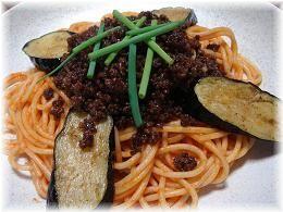 なすとひき肉の辛味スパゲティ