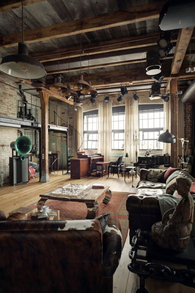 Atmospheric loft apartment warehouse home warehouse conversion loft living  living room decor interior photography industrial style