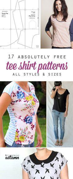 gran colección de patrones libres, camiseta. para las mujeres, hombres y niños, en un montón de tamaños y estilos. parece que voy a estar haciendo algunas camisetas en un futuro próximo!