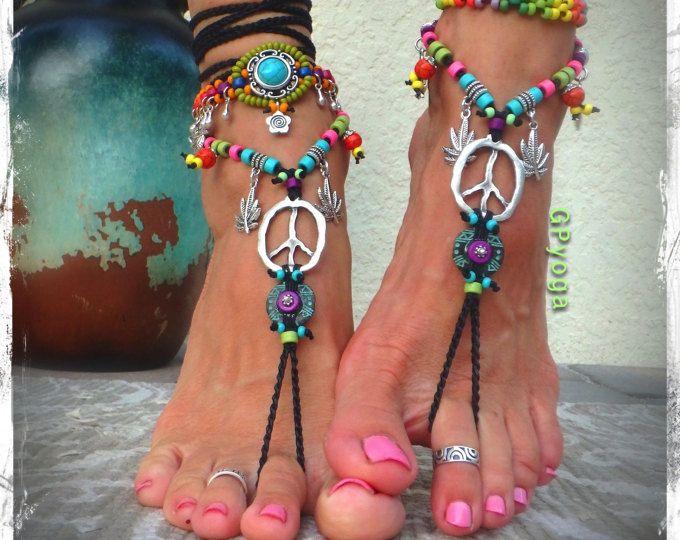Hippie paz signo sandalias Descalzas Bikini pies Festival psicodélico de la hoja de cáñamo joyería Crochet pie calzado de boda de naturaleza GPyoga