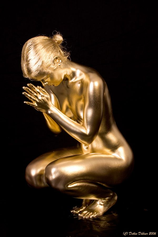 Gold Metallic Live Statue Prayer from living statues - created using Mehron's Metallic Powder, available at CRC!