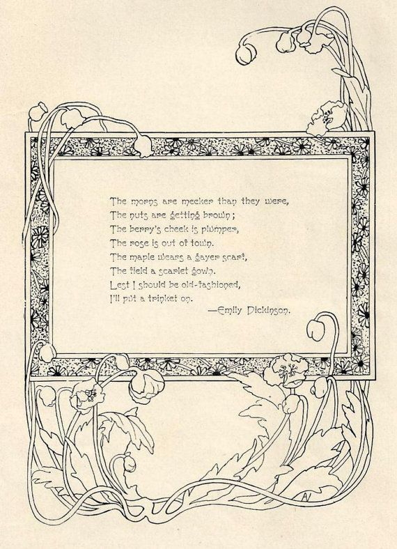 Illustrated poetry by Emily Dickenson | 1902 Illustrated Emily Dickinson Poem - The Morns are Meeker Than They ...