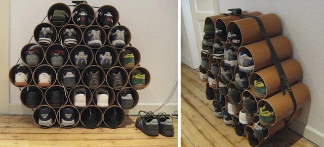 sapateira feita de canos de PVC