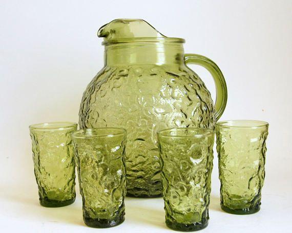 Vintage Pitcher Glasses Anchor Hocking Glassware Green Glass