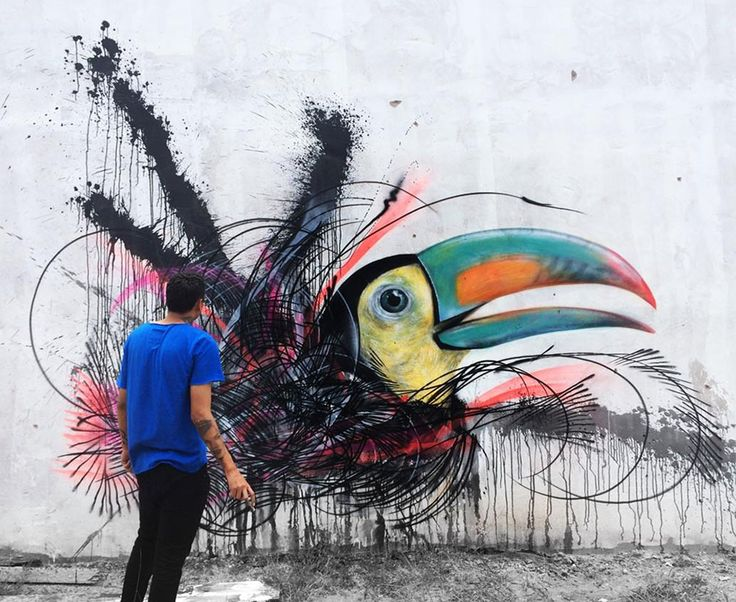'Frenetic Spray painted Birds' Street Art by L7m via 'ThisIsColossal.com'>I find his Bird Art Amazing+<3 the bold Colours+Abstract Style!<3