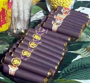 Party favors for a Havana Nights party using Rollo chocolate & vintage Cuban cigar labels #PrettyLittleShowers