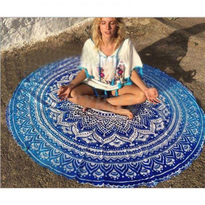 Indiske Mandala pledd/skjerf, rund, blå Sariel.no - Tepper Sariel.no - Mandala tepper og puter Sariel.no - Produkter