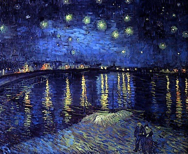 Vincent Van Gogh, Starry night over the Rhone, 1889, The bold rendering of the sky brings to mind a fireworks display, which makes this piece, along with the luminous reflections in the water, very exciting, beautiful, and magical.