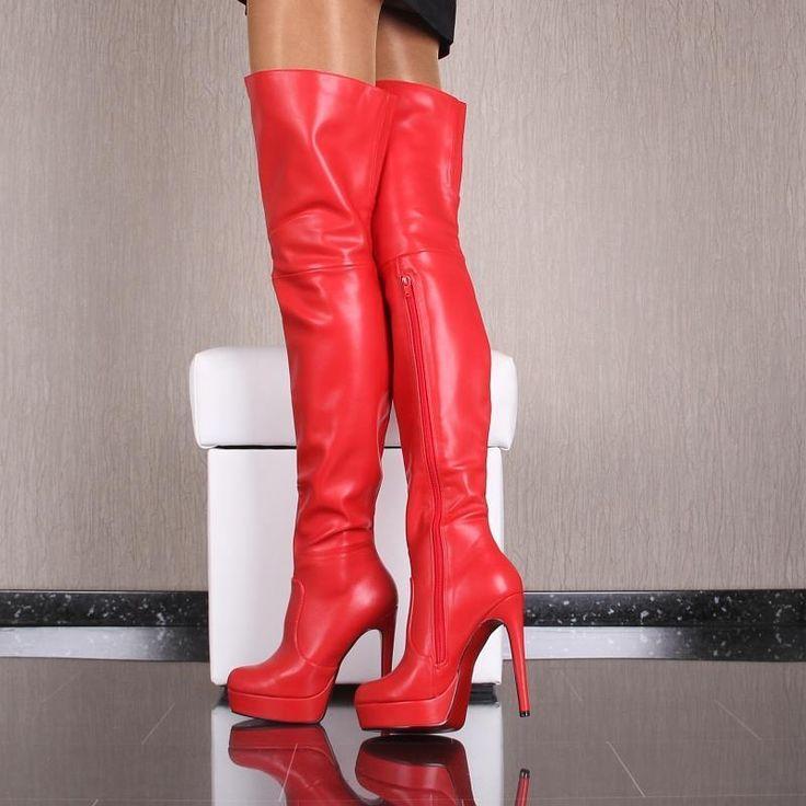 SEXY OVERKNEES DAMEN STIEFEL AUS WEICHEM LEDER-IMITAT ROT #WLD553 | Kleidung & Accessoires, Damenschuhe, Stiefel & Stiefeletten | eBay!