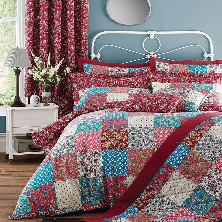 Red Ava Patchwork Bed Linen Collection | Dunelm