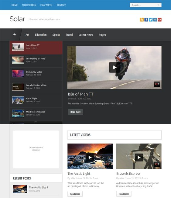 This video WordPress theme includes a responsive layout, a premium slider, easy customization, a Flickr widget, HTML5 code, retina support, a color picker for unlimited colors, demo content, support for multiple post formats, and more.