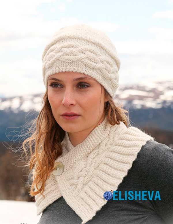 Ажурный комплект, состоящий из шапки и коротенького шарфика вязаный спицами   Блог elisheva.ru