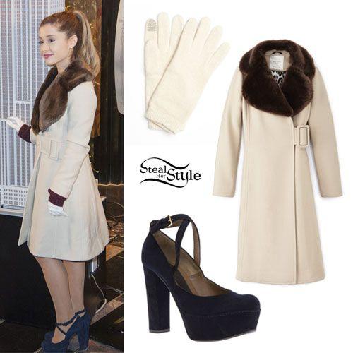 Ariana Grande: Beige Coat, Blue Platforms - Style Steal