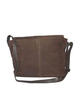 Brown Suede Leather Handbag with shoulder Strip