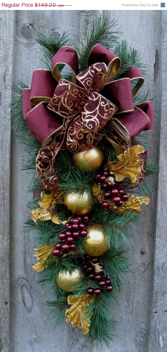 Christmas Swag, Holiday Wreath, Elegant Christmas Décor, Designer Wreath, Victorian Swag. via Etsy.