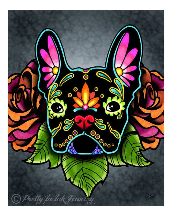 Day of the Dead Black French Bulldog Sugar Skull Dog Art Print - 8 x 10 - Prints for Pits Rescue Donation