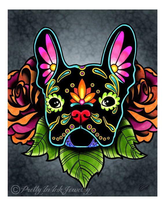 Bulldog Francés negro día de lo muerto por PrettyInInkJewelry