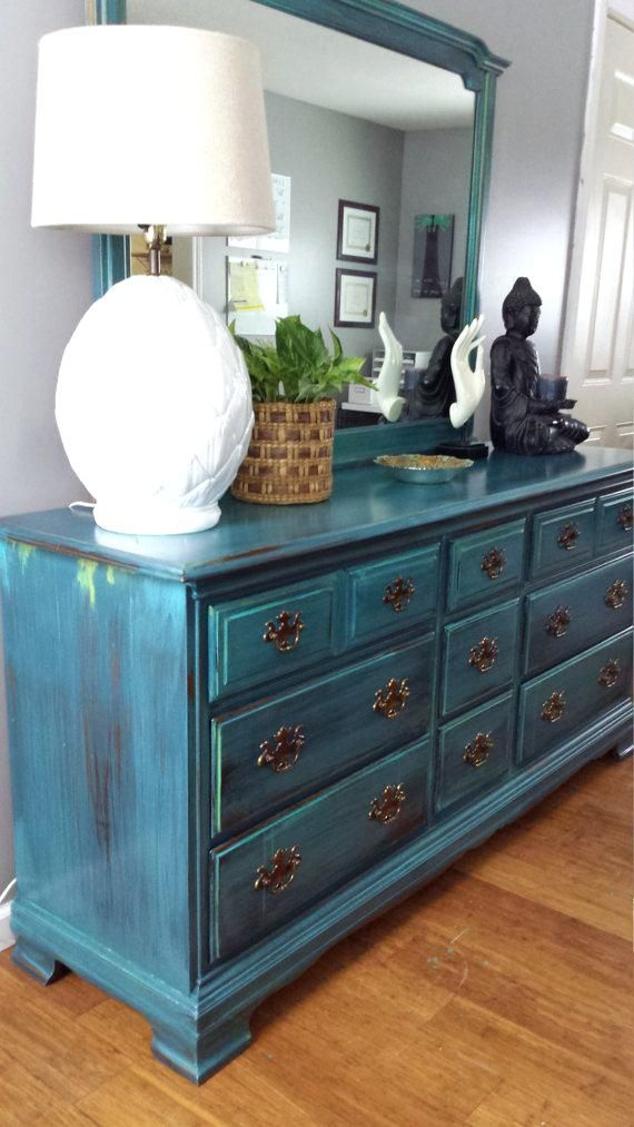 Beautifully Bedroom Furniture Bureau Hand Painted Teal Dresser Patina Green Blue Turquoise Bur Teal Furniture Mirrored Bedroom Furniture Teal Bedroom Furniture