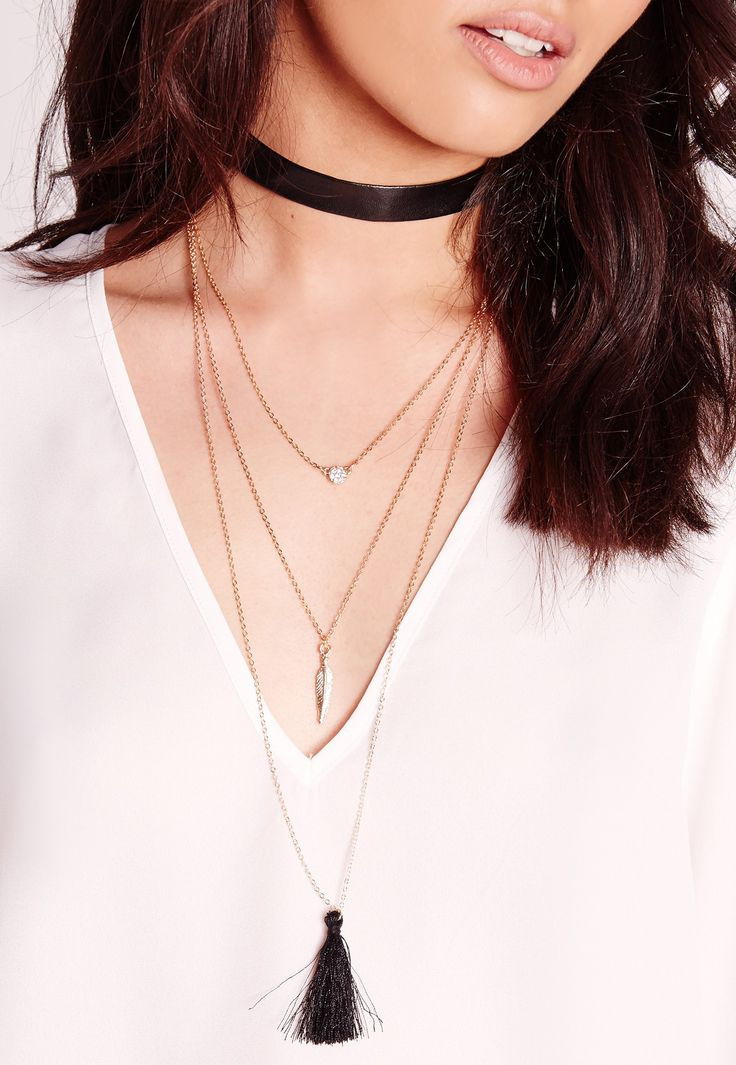 Layered Faux Leather Choker Necklace Black - Missguided