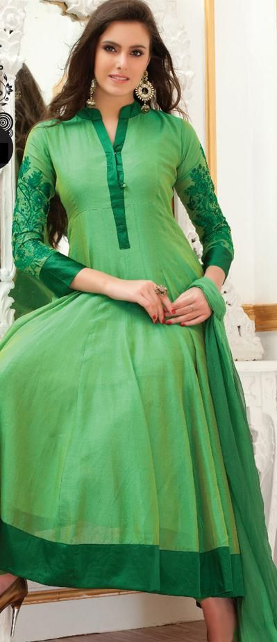 $89.93 Green Full Sleeve Faux Georgette Long Anarkali Salwar Kameez 19456