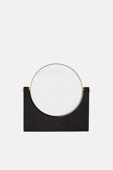 Menu — Tabletop Mirror w/Magnifying Option - Black Marble