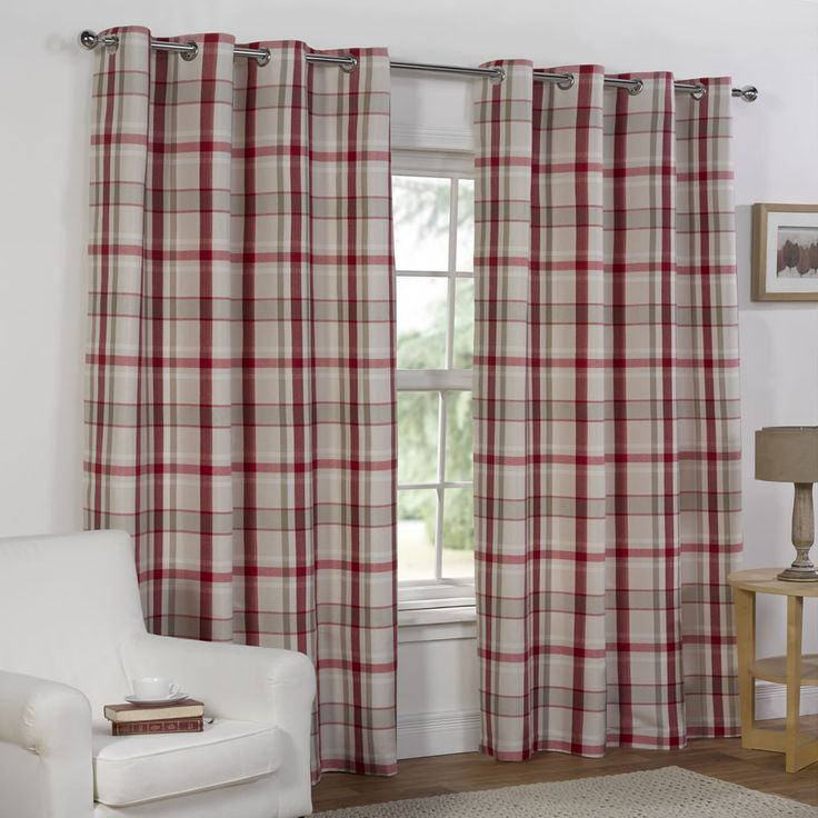 Wilko Curtains Red Check 228x228cm