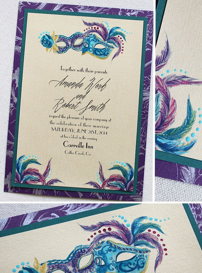 blue and purple masquerade invitations | Masquerade Wedding Invitations