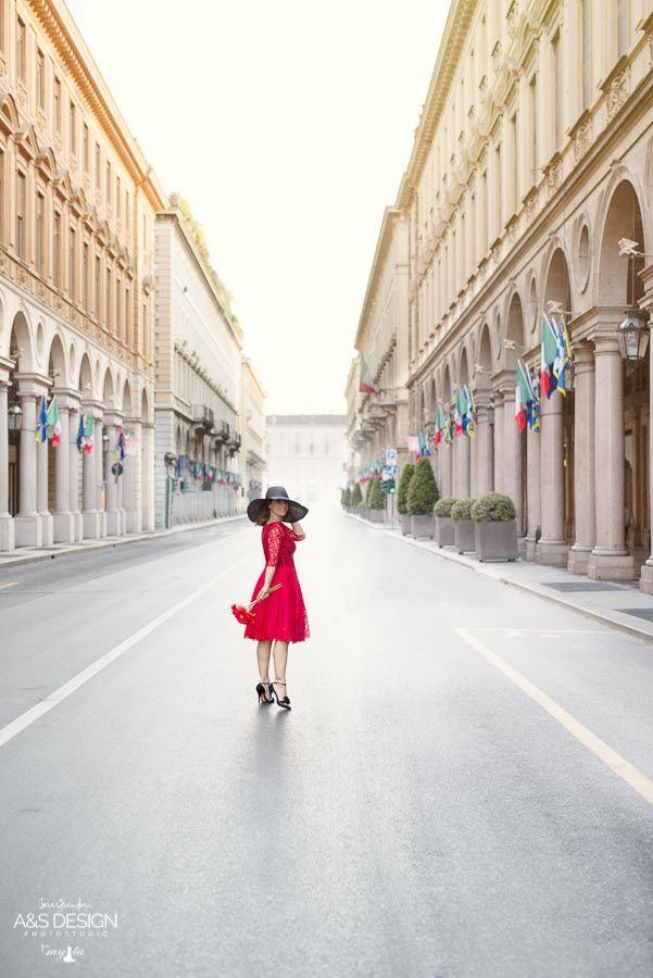 via Roma in Red precious dress in red laces  My Ta Editorial Photography + PostProduction: Sara Grandieri Stylist: Tamara Milia Flower Designer: Corinna Brilli - ULTRAViOLET articoli regalo - fiori Model: Laura De Robertis