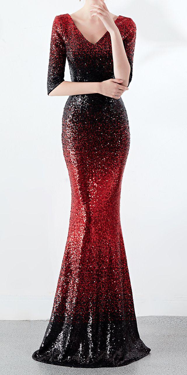 Black Red Glitter Long Fit Maxi Evening Dress Stunning In 2020 Red Sequin Dress Long Sequin Dress Long Sleeve Sequin Dress