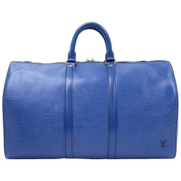 Preowned Vintage Louis Vuitton Keepall 45 Blue Epi Leather Duffle... (2,645 ILS) ❤ liked on Polyvore featuring bags, luggage, blue and duffel bags