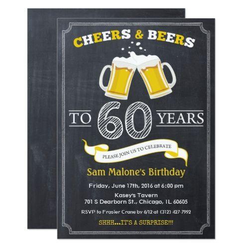 Cheers & Beers Chalkboard 60th Birthday Invitation