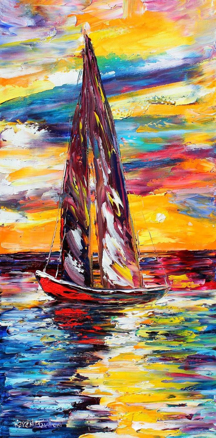 Original Sunset Sail Boat modern palette knife painting impressionism oil on canvas fine art by Karen Tarlton. $145.00, via Etsy.