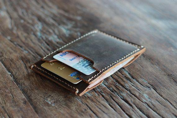 Billetera de cuero de los hombres de adentro hacia afuera--carteras minimalistas - 031 - la billetera del año