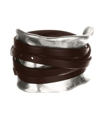 MUST HAVE THIS GLADIATOR CUFF...I LOVE IT! Uno De 50 Ibiza Cuff  PUL0227  Ibiza  Women's wide bracelet with silver plated rolled leather strip