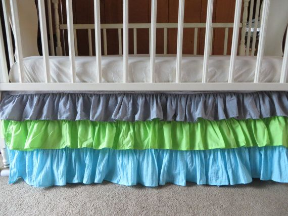 Ombre Ruffle Crib Skirt in Grey, Lime Green, Aqua Ruffle Crib Skirt - Modern Nursery, Grey Lime Aqua Nursery