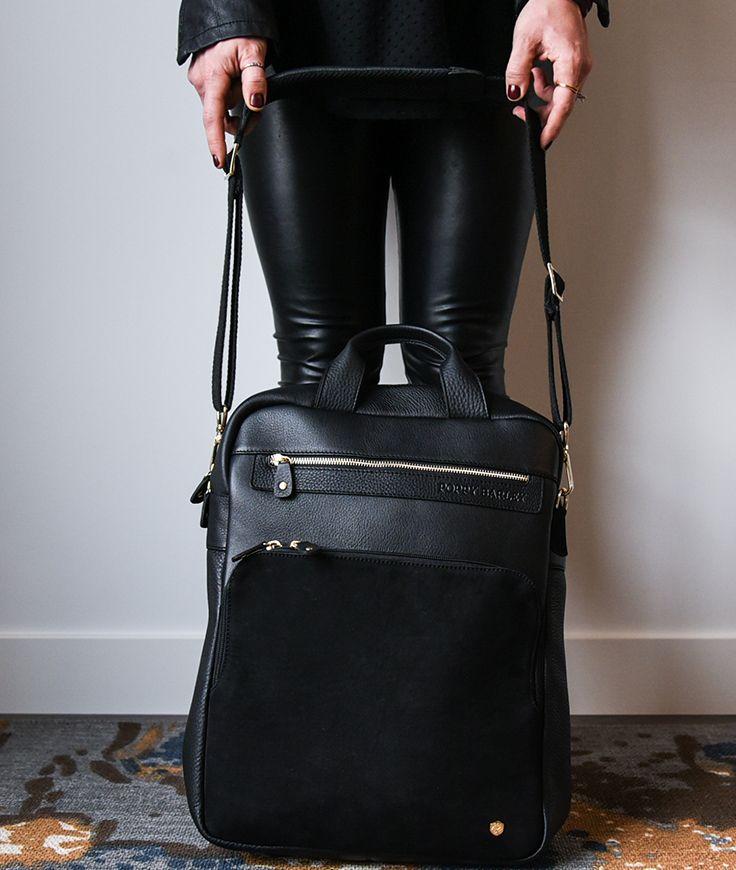 The Backpack - Black and Black Nubuck - Poppy Barley